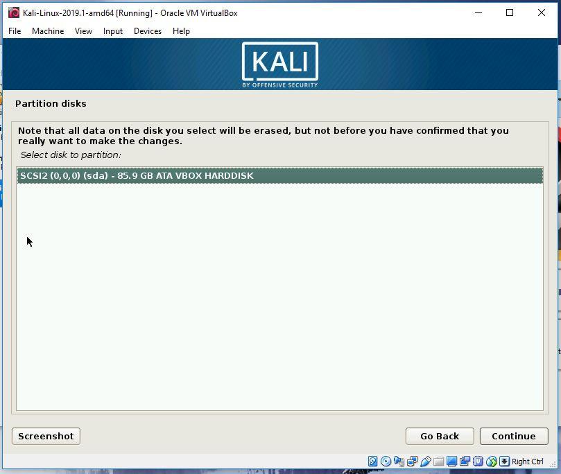 Kali partitioning step 2