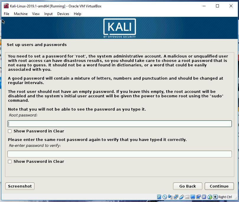 Kali root password creation