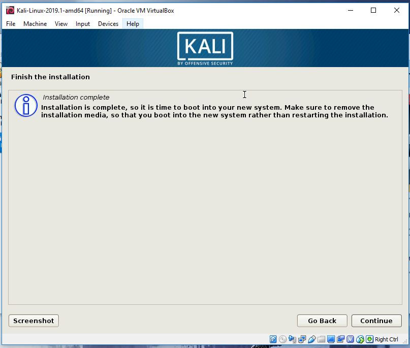 Kali installation complete