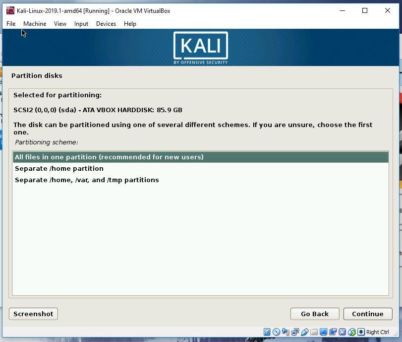 Kali partitioning step 3