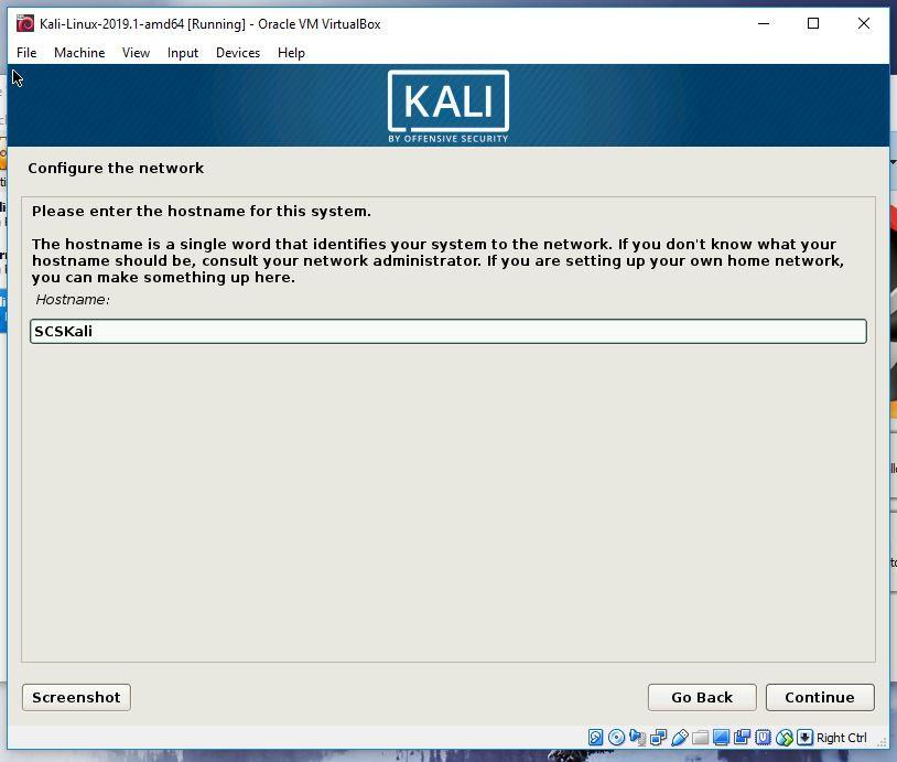Kali hostname creation