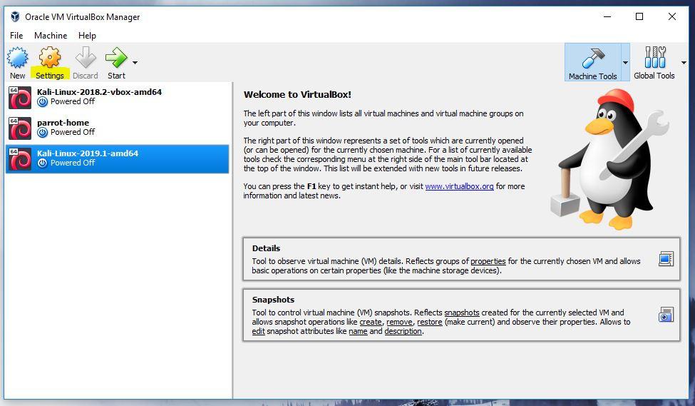 Oracle VirtualBox Manager