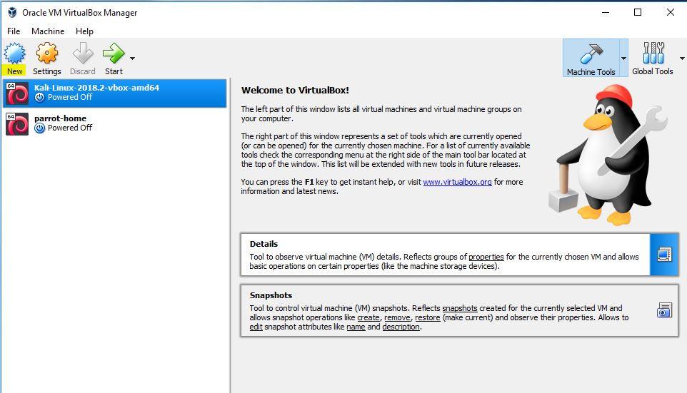 Oracle VirtualBox Manager window