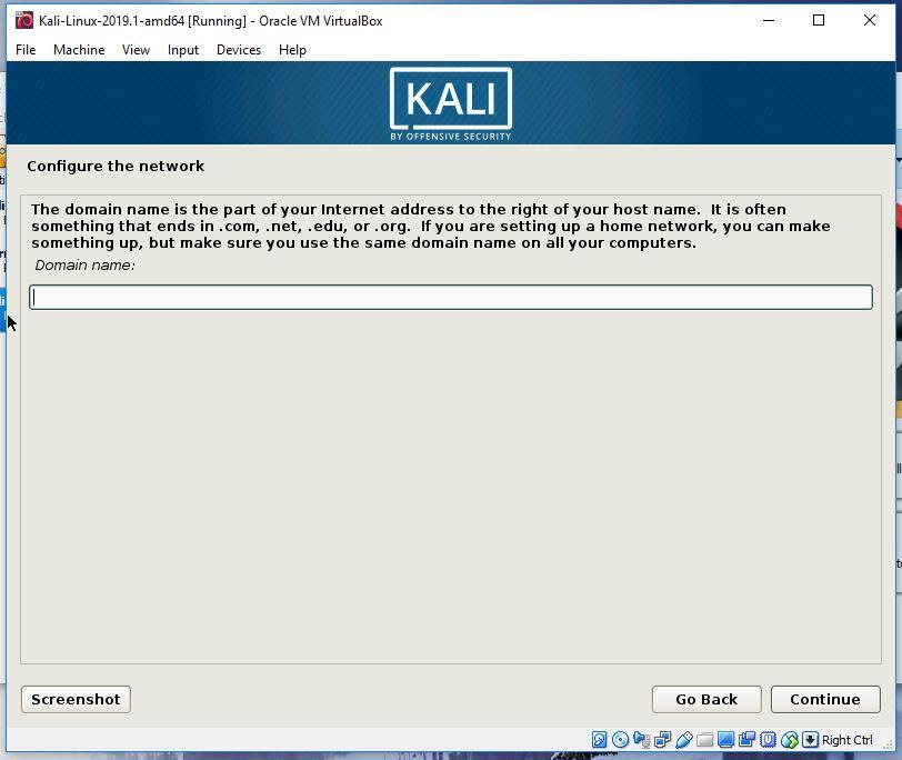 Kali Domain name screen