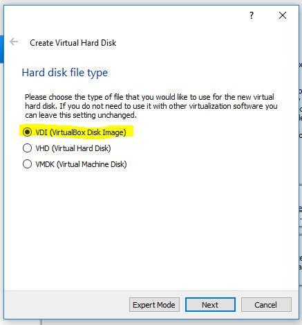 Hard disk file type VDI