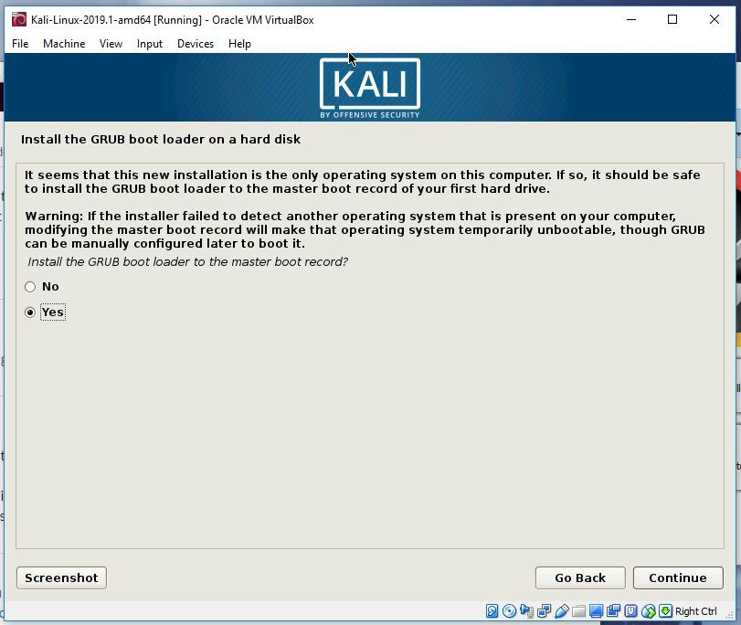 Kali GRUB install