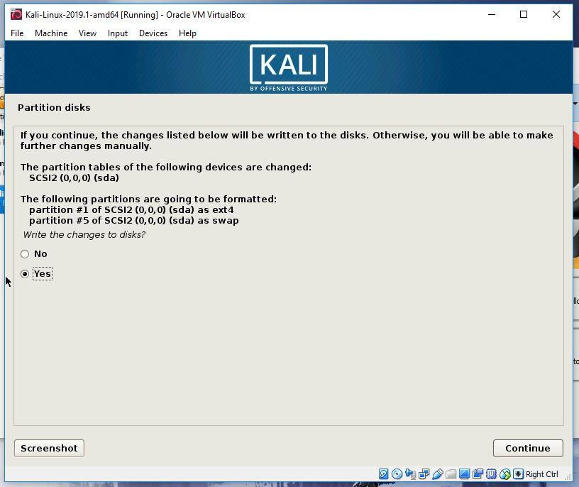 Kali partitioning finalize