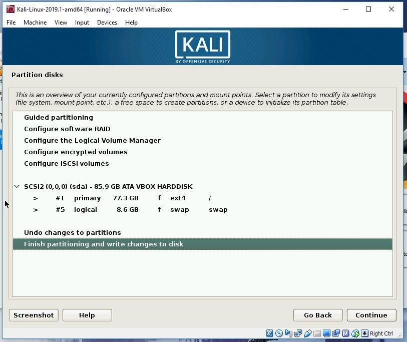 Kali partitioning step 4