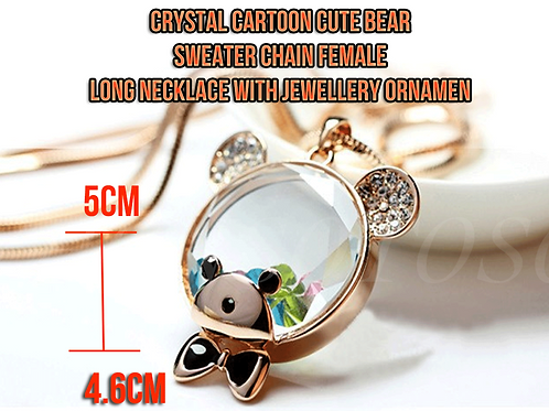 Crystal Bear Necklace [Pack of 1]