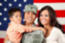 Military family with flag
