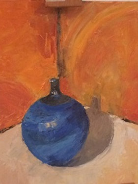 The temperature of colour, a still life using a palette knife & techniques