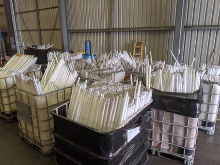 Mercury contaminated fluorescent tubes