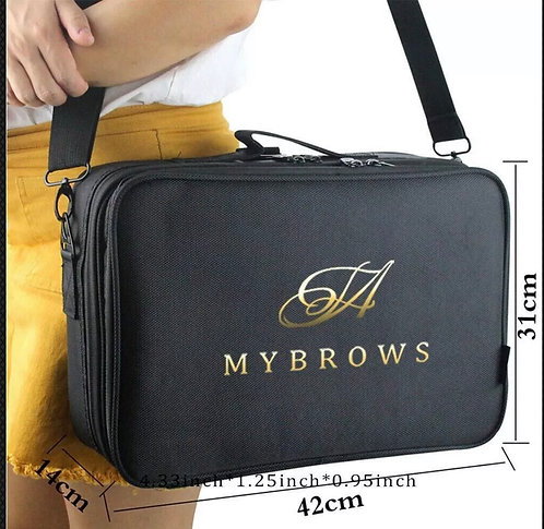 MYBROWS                   TRANSPARENT BLACK COSMETIC MAKE UP BAGS
