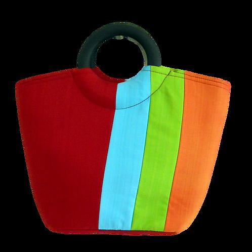 Striped Tote Silk Bag
