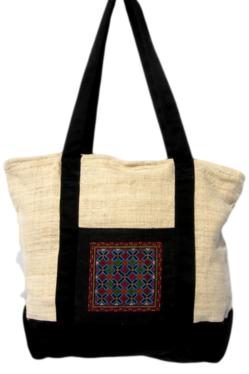 Hand Embroidered Cross Stitch Book Bag