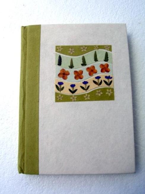 Floral Handmade paper Journal Green