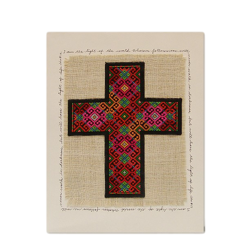 Cross Stitch Cross on linen
