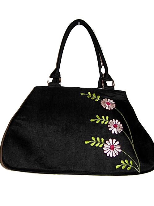 Large Daisy Embroidered Silk Bag