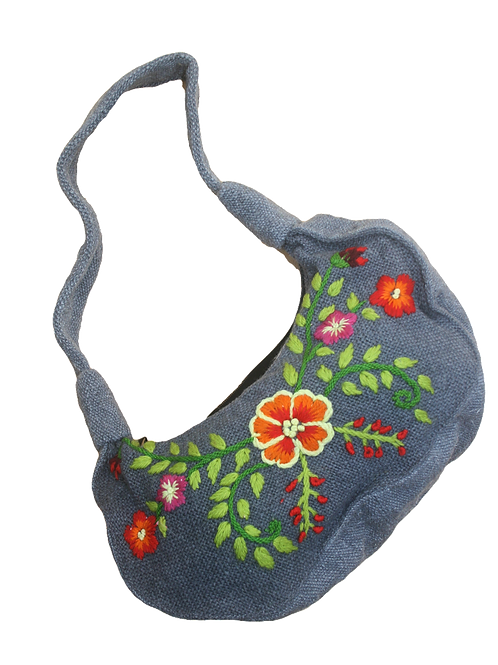 Embroidered Woollen Half-Moon Bag