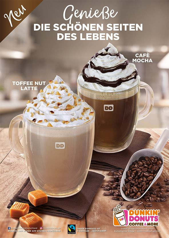 Dunkin Donuts poster – Coffee with cream and toffee flavor photographed in Dubai for Dunkin Donuts Germany