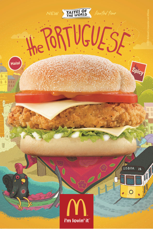 Burger photographed on illustration - McDonalds food The Portuguese poster for United Arab Emirates region