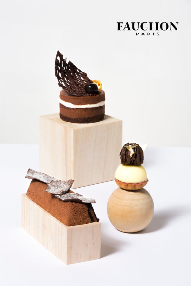 Food photography of Pastry on wooden blocks on white background for Fauchon Dubai