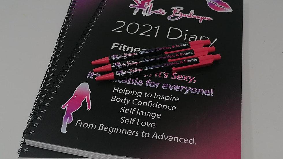 A5 Lets Burlesque Calendar Diaries & Pen 2021