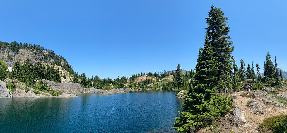 alpine lake with trees and blue skies