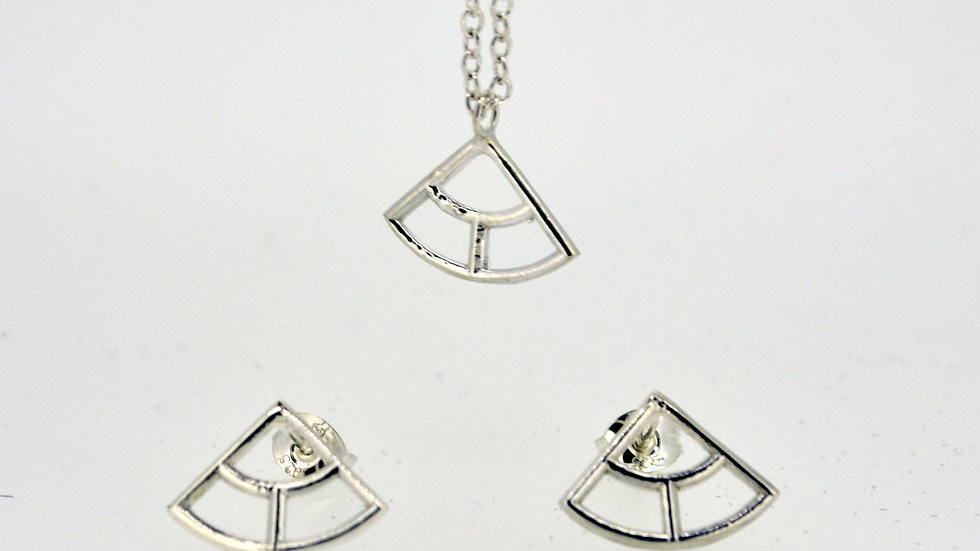 Silver Three Fan Pendant and Earring Set