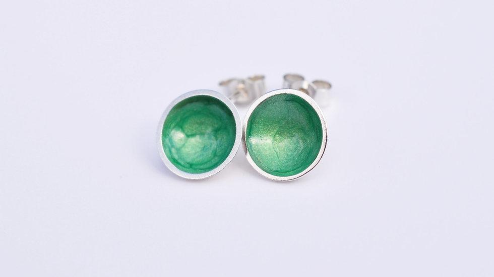Emerald Enamel Sterling Silver Studs