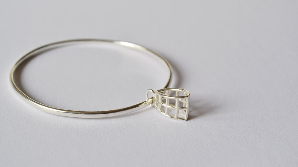 Silver Bangle with Silver Pillow Charm