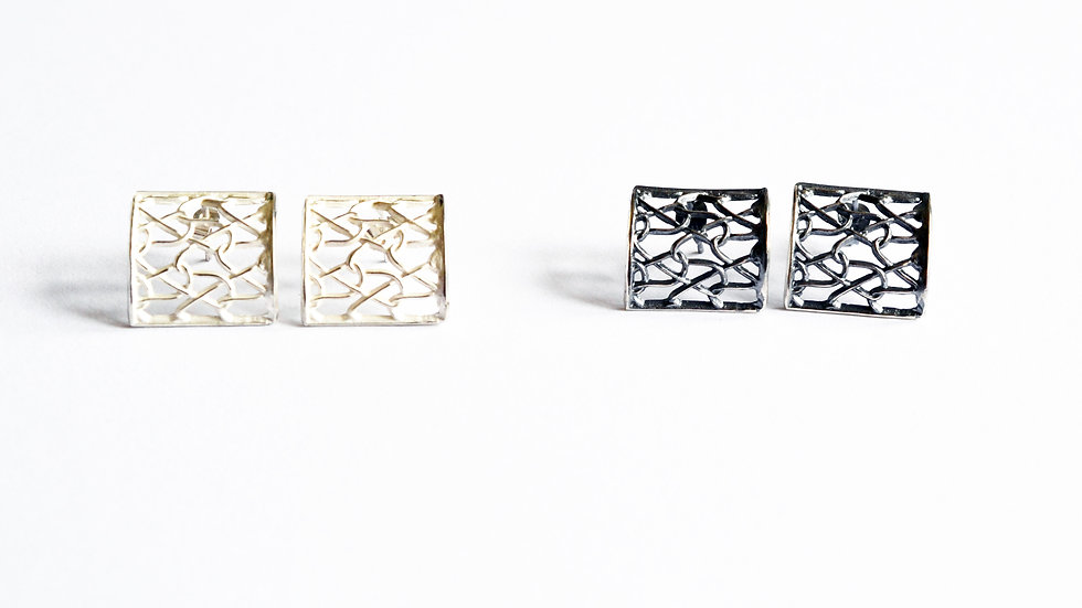 Silver Curved Square Studs