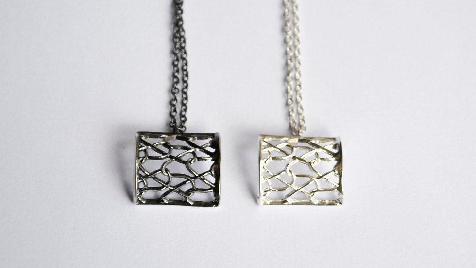 Tiny Silver Square Pendant