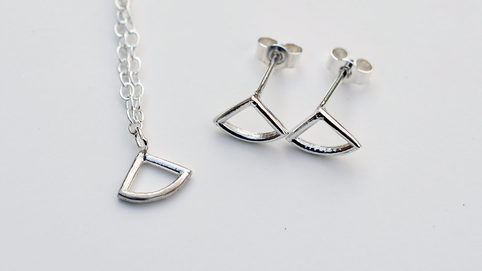Tiny  Silver Triangular Pendant and Earring Set