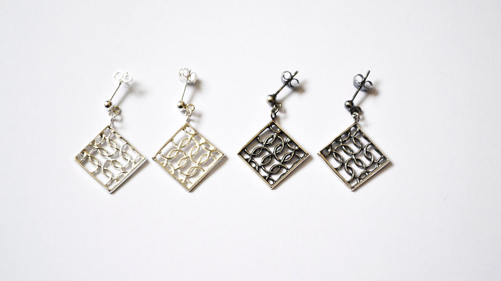 Silver Curved Drop Earrings