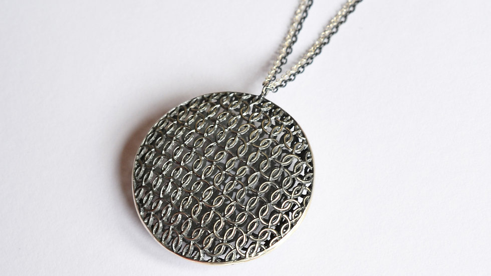 Large Silver Circular Double Domed Pendant