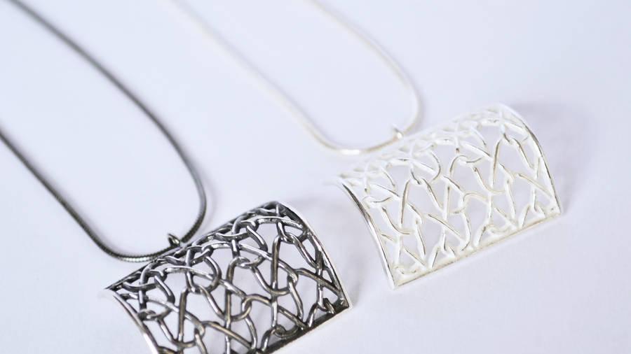 Silver Square Curved Pendant