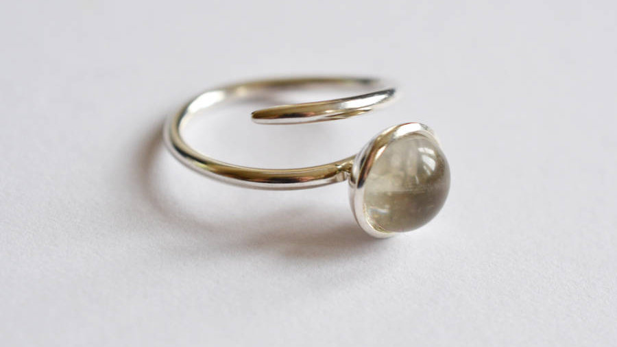 Silver Domed Ring With Glass Centre