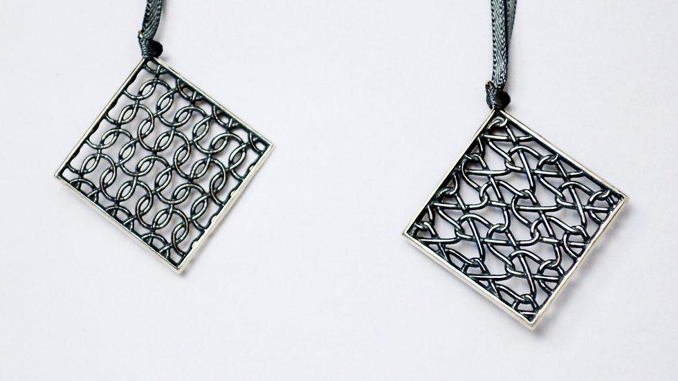 Silver Flat Square Pendant