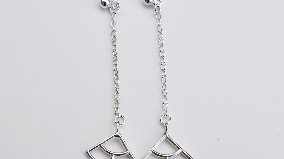 Silver Drop Three Fan Earrings