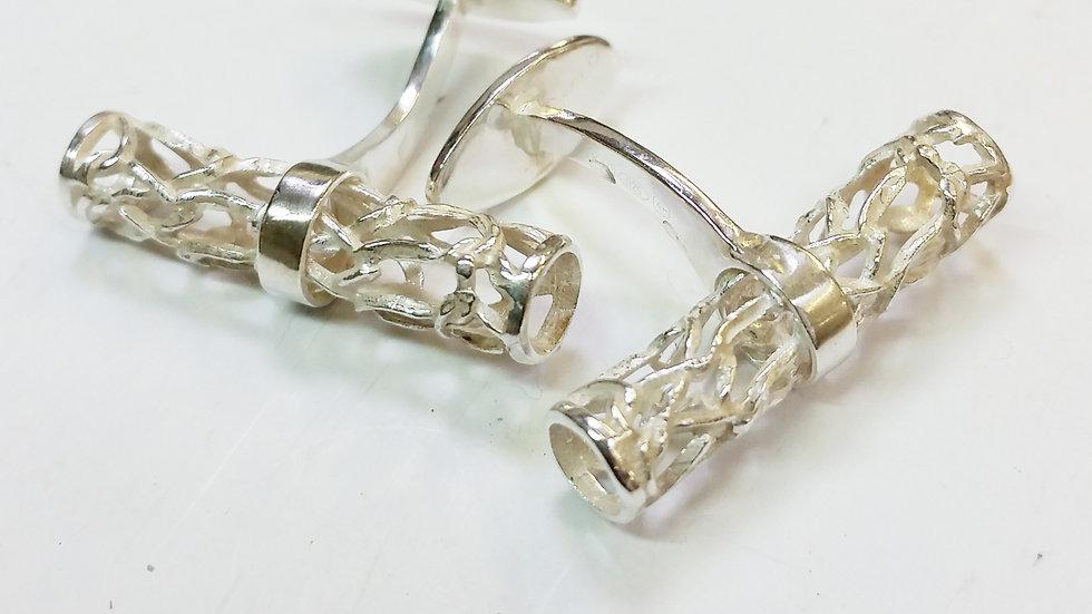 Silver Cylindrical Cufflinks