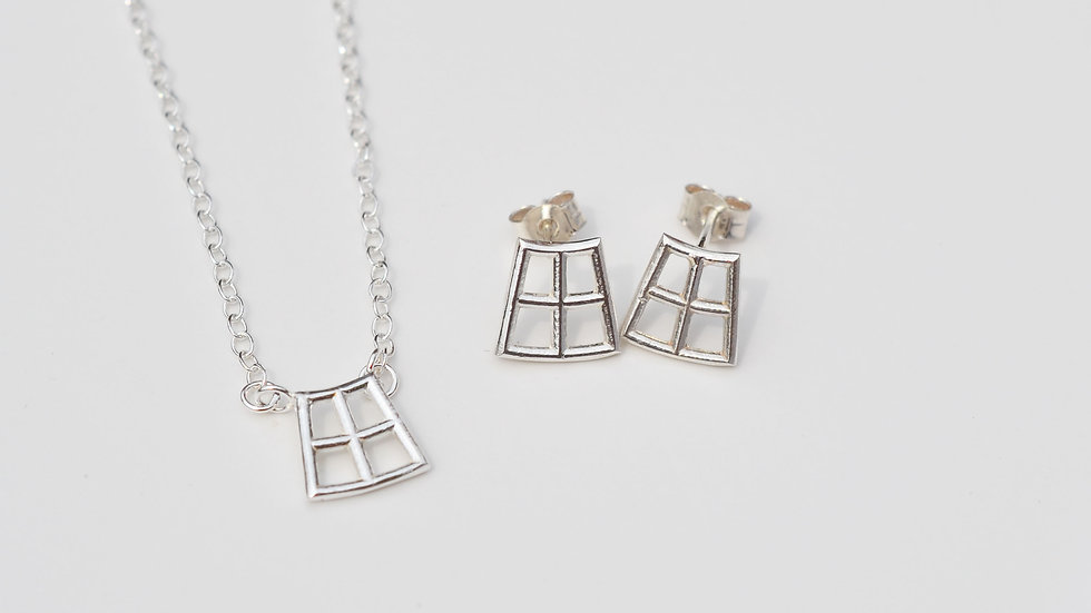 Square Pendant and Studs Set