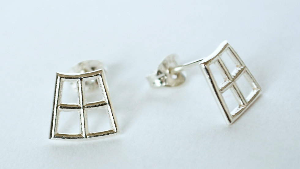 Silver Four Square Studs