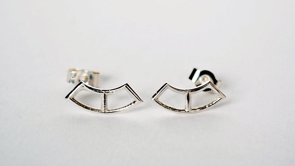 Tiny Silver Curve Earrings