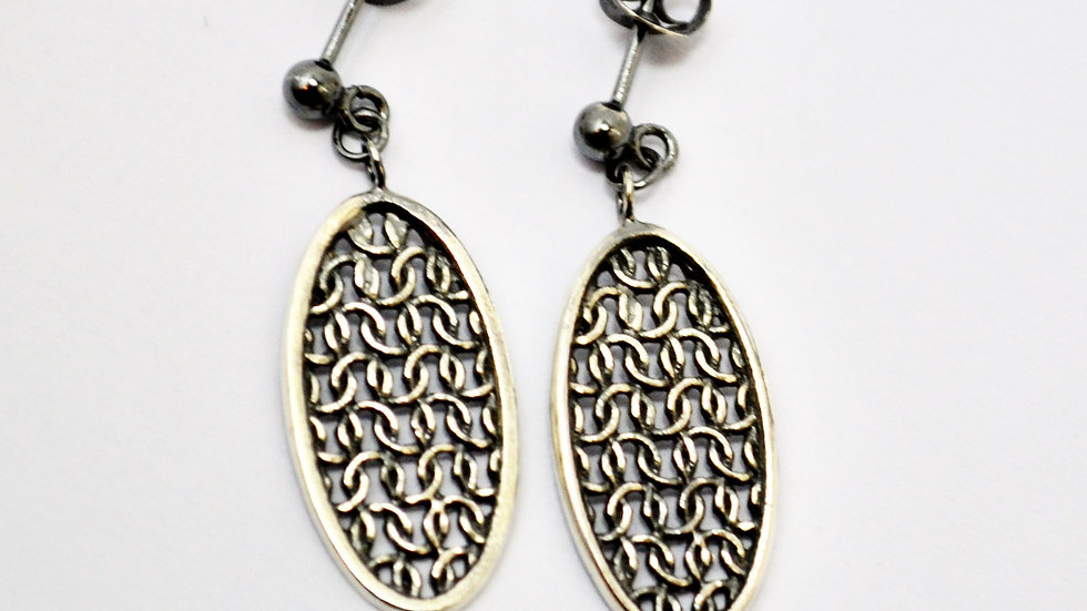 Silver Tiny Oval Drop Earrings