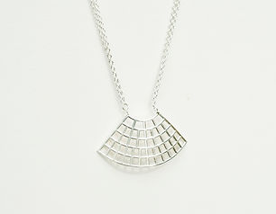 sterling silver curved fan necklace with sterling silver trace chain inspired by contours in fabrics and textiles