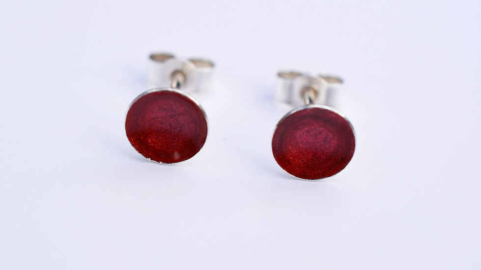 Dark Red Enamel Sterling Silver Studs