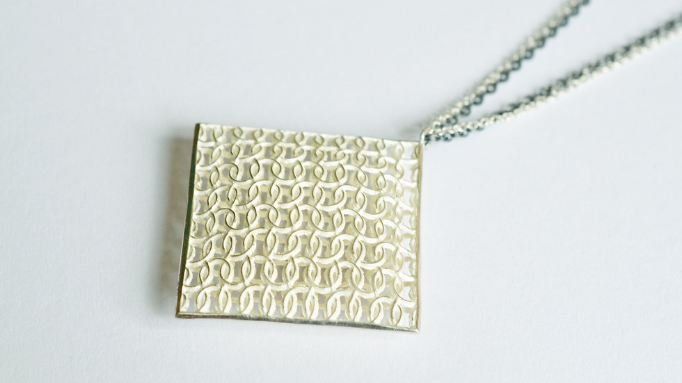 Large Silver Square Double Domed Pendant