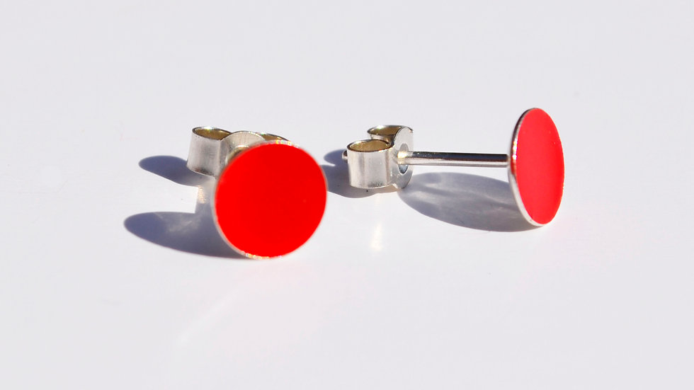 Bright Red Enamel Sterling Silver Studs