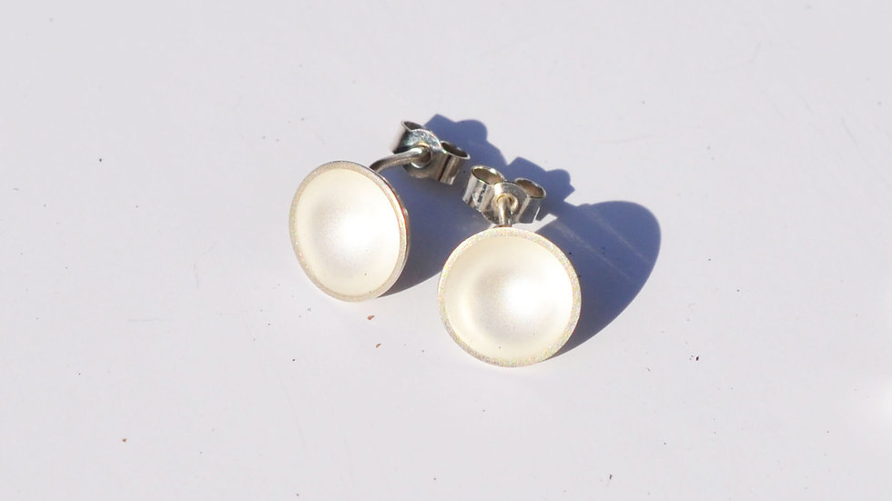 White Baked Sterling Silver Studs